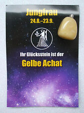 Sternzeichen Jungfrau Glücksstein gelber Achatanhänger 24.8.-23.9. Schmuck,Kette