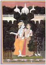 INDIAN MINIATURE PAINTING KISHANGARH RADHA KRISHNA FINE DETAILED WITH GOLD WORK
