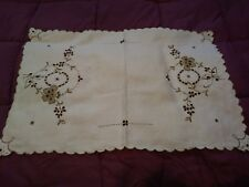 Madeira Cutwork & Embroiderd Table Topper or Runner 22 1/2 by 15 1/2""