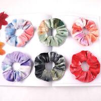 Tie Dyed Scrunchie Velvet Hair Accessories Women Girl Elastic Rubber Hair Rope N