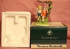 "Norman Rockwell Figurine ""Summer Fun"" Boy and Girl on Tree Swing"