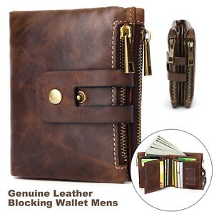 Mens Wallet Genuine Leather Vintage Zipper Bifold Card Holder Coin Purse UK