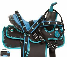 WESTERN YOUTH PONY KIDS SYNTHETIC SADDLE TACK BLUE TEAL CRYSTAL 10 12 13 USED
