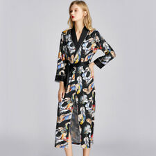 Luxurious Ladies Womens Black Colourful Feathers Long Bath Robe Gown ladpj279