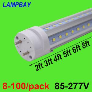 8-100/pack V shaped LED Tube Light 2FT 3FT 4FT 5FT 6FT Bulb G13 Fluorescent Lamp
