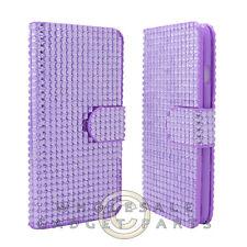 Apple iPhone 6/6s Wallet Pouch Soft Gel Diamond Look Purple Case Cover Shield