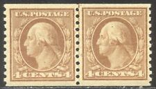 U.S. #495 Mint Nh Line Pair - 4c Brown, Rotary Coil ($160)
