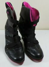 Women's Dollhouse Black Leather With Pink Accents High Heels Shoes Size 8