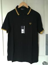 New Fred Perry Black Classic Polo Shirt Yellow Twin Tipped S RRP £75
