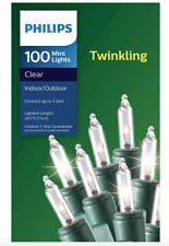 New Philips 100 Mini Lights Clear Twinkling Green Wire 24.7 Ft. Indoor Outdoor