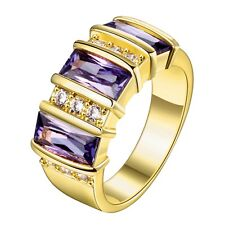 18K Gold GP Purple Swarovski Crystal Solid Wedding Engagement Ring Band Size 8