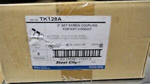 "THOMAS & BETTS TK128A 3"" SET SCREW COUPLING FOR EMT CONDUIT, LOT OF 5,NIB"