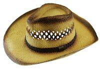 Men's Western Cowboy Cowgirl Straw Hat Summer Sun Beach Wild Cattleman Twisted