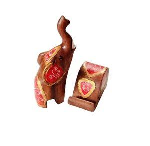 Wood Carved Painted War Elephant Phone Holder Natural Loft Farmhouse Home Decor