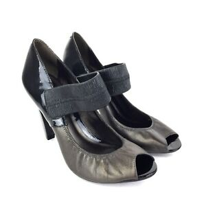 DKNY Gunmetal & Black Patent Leather Heels Size 6.5