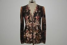 Roberto Cavalli Signature Wool Cashmere & Silk Floral Dress Top Sweater 44 US 10