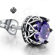 Silver earring purple crystal stainless steel crown single stud 1.25ct