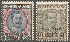 1909 Occupazioni Levante/Smirne S.N. 1/8 integri **