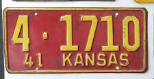 1941 KANSAS License Plate Tag  41 KS   4-1710