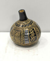 Gourd African Metal Etched Geometric Design Gourd Tanzania