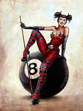 8 Ball Lady , Retro metal Aluminium Sign vintage pool games