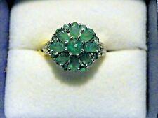 Kagem Zambian Emerald, Diamond Platinum Over Sterling Silver Ring (Size 6.0)