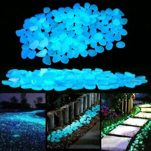 200x Large Pebbles Stone Glow in the Dark Home Garden Walkway Aquarium Fish Tank