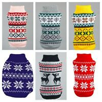 Cute Knitted Fair isle Dog Jumper Pet Clothes Sweater Small To Medium Dogs