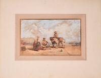 Aquarell Gemälde Bild Auguste Delacroix Strand Händler Küste Frankreich 1842
