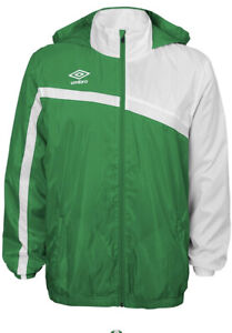 Umbro waterproof Jacket sz Large hood soccer rugby retro style 1990s white green