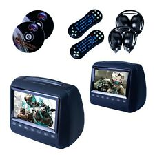 "2X 7"" Black Headrest Monitor Car Vehicle DVD Player Touch Button Game UK"
