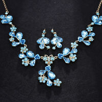 Blue Vintage Rhinestone Bib Crystal Bridal Necklace and earring Jewelry Sets Hot