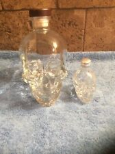Lot Crystal Head Empty Vodka 750ml Bottle Clear Glass Skull Wood Stopper & Mini