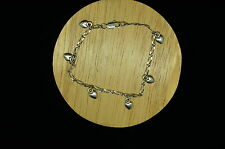 "7"" SILVER PLATED CURB CHAIN BRACELET WITH DANGLING HEART CHARMS #8900"