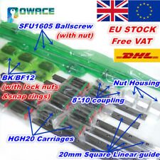 【UK】SFU1605 Ballscrew L400/700/1000mm+20mm Square Linear Rail Guide&Nut+BK/BF12
