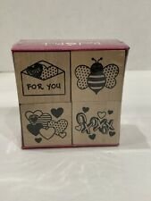 Red & Pink Festive Love Themed Four Rubber Stamps Set Valentines - NEW