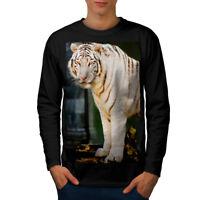 Wellcoda Wild White Tiger Animal Mens Long Sleeve T-shirt, Rare Graphic Design