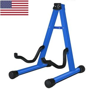 Guitar Stand Folding Universal A frame Stand for All Guitars Electric Bass Blue