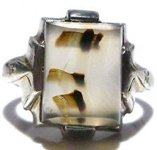 AWESOME ART NOUVEAU DECO STERLING SILVER AGATE WOMENS SHIELD RING SIZE 7.25
