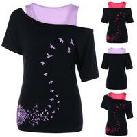 2PCS Women Dandelion Printed Tops Cold Shoulder T-shirt +Solid Tank Tops Blouse