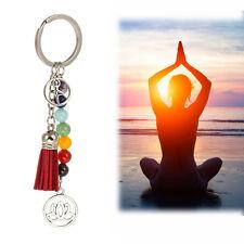 Yoga Reiki Bag Key Ring 7 Chakra Keychain Lotus Tassel Pendant Flower Keyfob