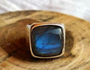 Natural Labradorite Gemstone with 925 Sterling Silver Ring for Men's EG1024