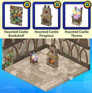 2017 Webkinz 3-pc HAUNTED CASTLE Halloween Theme: Bookshelf & Fireplace & Throne