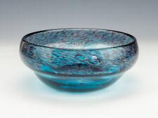 More details for vintage strathearn scottish glass - mottled blue glass swirl bowl