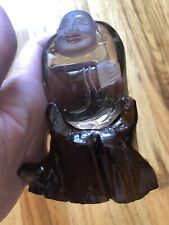 "2.85"" Smoky Quartz Happy Buddha With Wood Stand Hand Carved"