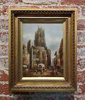 Henri Schafer -Gothic old town Street market-19th century oil painting