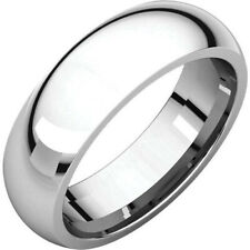 6mm 18K Solid White Gold Plain Dome Half Round Comfort Fit Wedding Band Ring