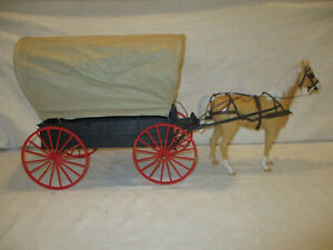 VINTAGE 1960s MARX JOHNNY WEST ACTION FIGURE COVERED WAGON W/ HORSE