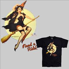 Pin-Up T-Shirt Glamour Girl 50s 40s  Illustration Elvgren design *3040 schwarz