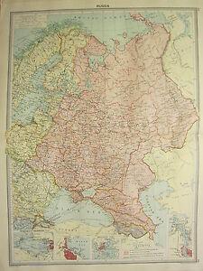 1920 LARGE MAP RUSSIA ~ FINLAND POLAND PETROGRAD & KRONSTADT ODESSA HELSINGFORS